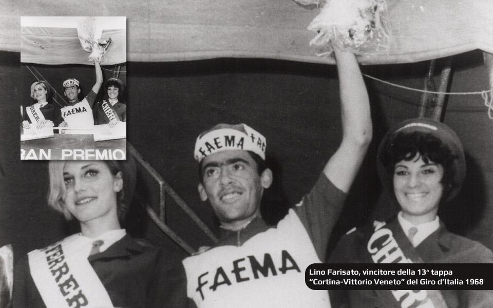 Lino Farisato vincitore della Tappa COrtina-VIttorio Veneto al Giro d'Italia 1968