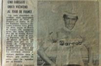 Lino Farisato unico vicentino al Tour de France